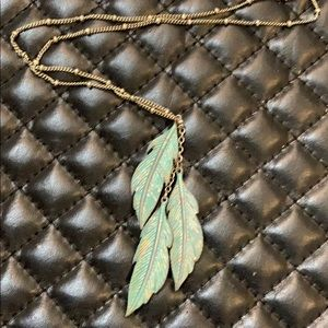AEO Silver Bohemian Feather Charm Necklace